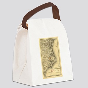 Vintage Map of The North Carolina Canvas Lunch Bag
