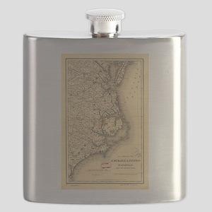 Vintage Map of The North Carolina Coast (188 Flask