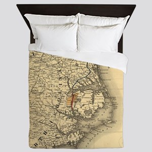 Vintage Map of The North Carolina Coas Queen Duvet
