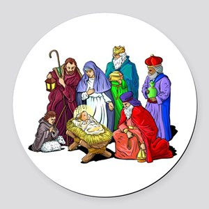 Colorful Christmas Nativity Scene Round Car Magnet