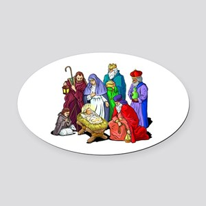 Colorful Christmas Nativity Scene Oval Car Magnet