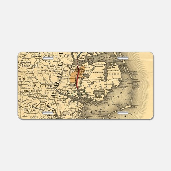 Vintage Map of The North Ca Aluminum License Plate