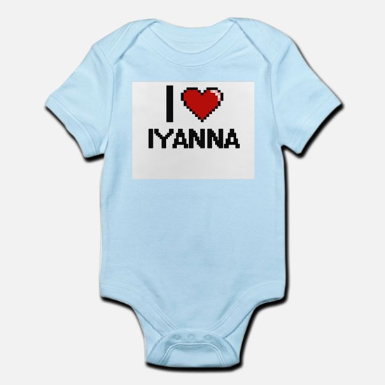 I Love Iyanna Digital Retro Design Body Suit