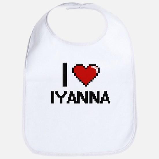 I Love Iyanna Digital Retro Design Bib
