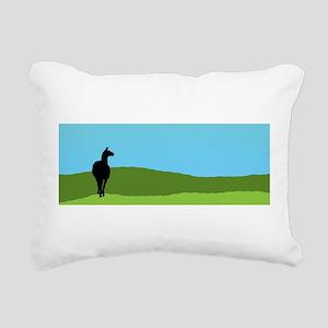 Llama Bue Sky Rectangular Canvas Pillow