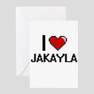 I Love Jakayla Digital Retro Design Greeting Cards