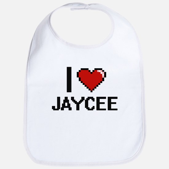 I Love Jaycee Digital Retro Design Bib