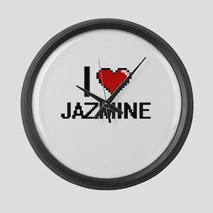 I Love Jazmine Digital Retro Desi Large Wall Clock