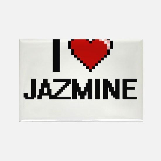 I Love Jazmine Digital Retro Design Magnets
