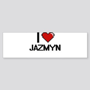 I Love Jazmyn Digital Retro Design Bumper Sticker