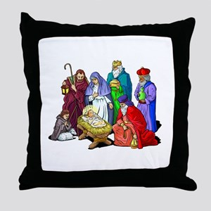 Colorful Christmas Nativity Scene Throw Pillow