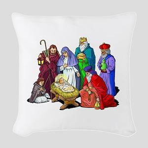 Colorful Christmas Nativity Woven Throw Pillow