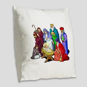 Colorful Christmas Nativity Burlap Throw Pillow