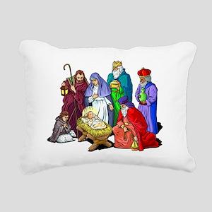 Colorful Christmas Nativity Scene Rectangular Canv