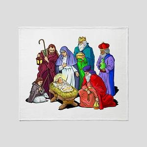 Colorful Christmas Nativity Scene Throw Blanket