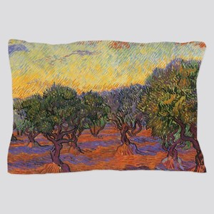 Van Gogh Olive Grove, Orange Sky Pillow Case