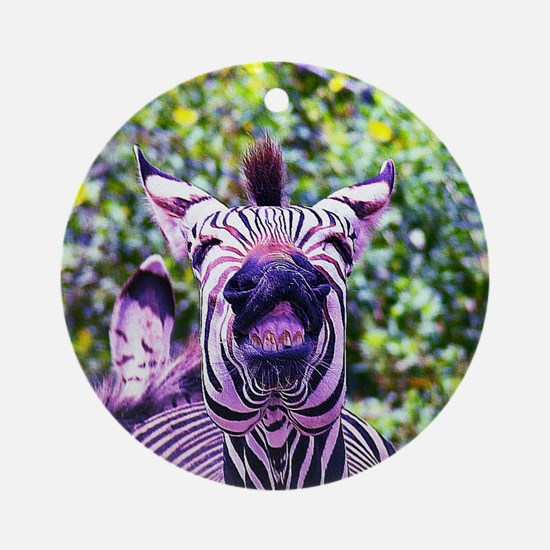 Laughing purple zebra Round Ornament