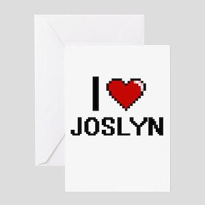 I Love Joslyn Digital Retro Design Greeting Cards