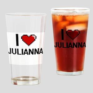 I Love Julianna Digital Retro Desig Drinking Glass