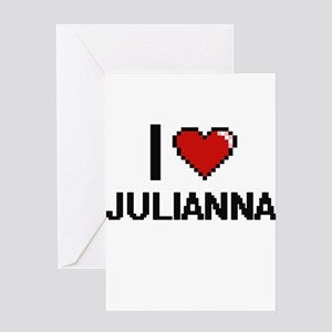 I Love Julianna Digital Retro Desig Greeting Cards