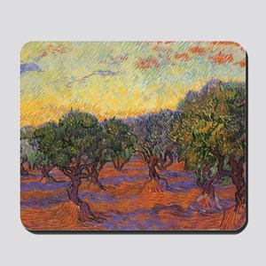 Van Gogh Olive Grove, Orange Sky Mousepad