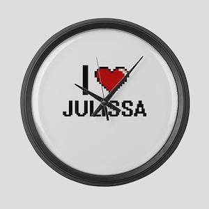 I Love Julissa Digital Retro Desi Large Wall Clock