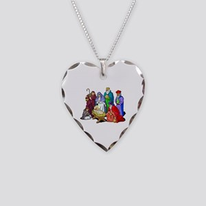Colorful Christmas Nativity Necklace Heart Charm