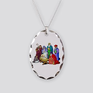 Colorful Christmas Nativity Necklace Oval Charm