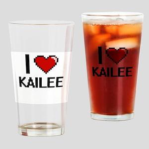I Love Kailee Digital Retro Design Drinking Glass