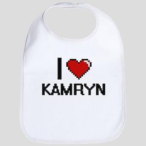 I Love Kamryn Digital Retro Design Bib