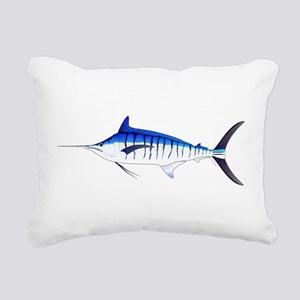 Blue Marlin v2 Rectangular Canvas Pillow