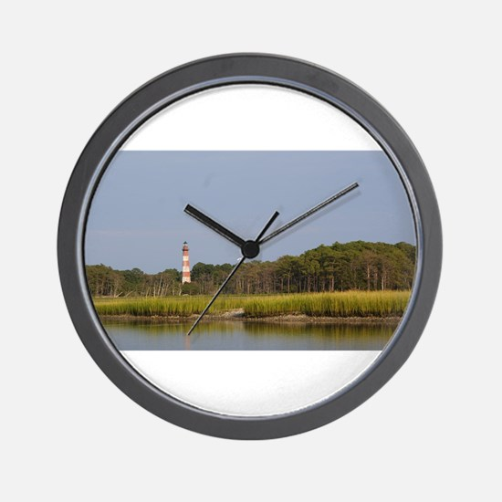 Asateague lighthouse across the marsh Wall Clock