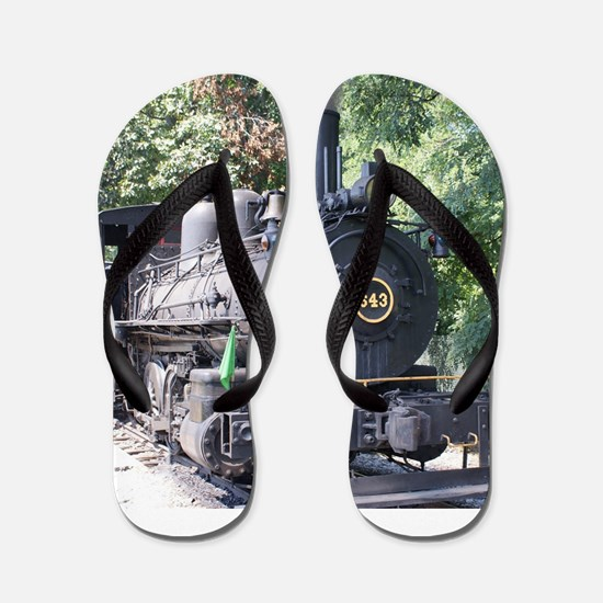 steam train close up shot Flip Flops