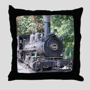 steam train close up shot Throw Pillow