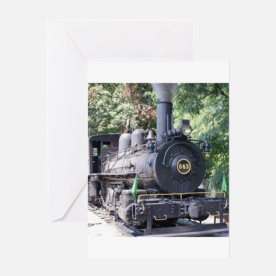 steam train close up shot Greeting Cards
