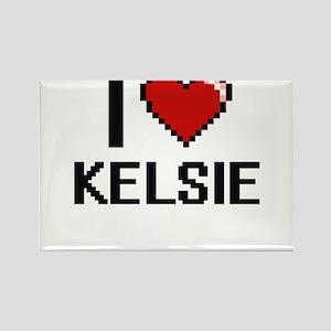 I Love Kelsie Digital Retro Design Magnets