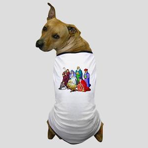 Colorful Christmas Nativity Scene Dog T-Shirt