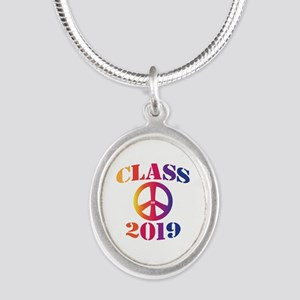 Class of 2019 Silver Oval Necklace