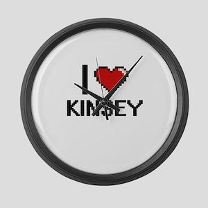 I Love Kinsey Digital Retro Desig Large Wall Clock