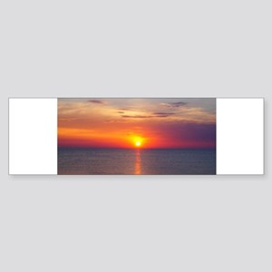 Red Sunrise Over Ocean (2) Bumper Sticker