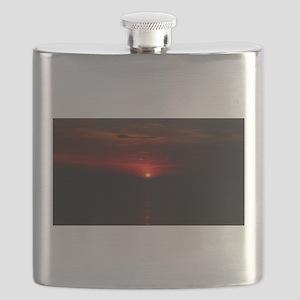 Red Sunrise Over The Atlantic Ocean in June Flask
