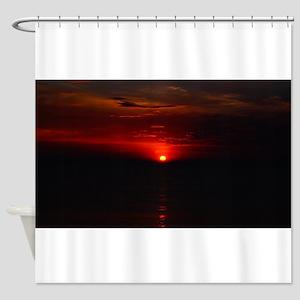 Red Sunrise Over The Atlantic Ocean Shower Curtain