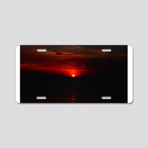 Red Sunrise Over The Atlant Aluminum License Plate