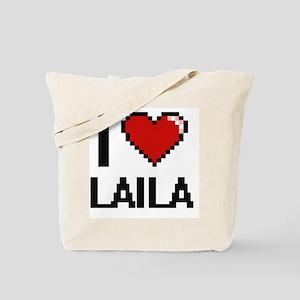 I Love Laila Digital Retro Design Tote Bag