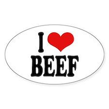 I Love Beef Oval Sticker