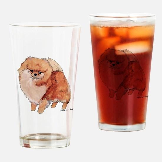 Pomeranian Watercolor Drinking Glass