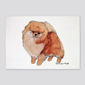Pomeranian Watercolor 5'x7'area Rug