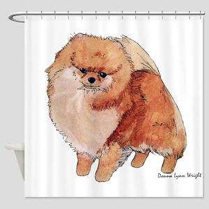 Pomeranian Watercolor Shower Curtain