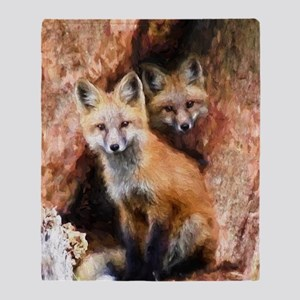 Fox Cubs in Hollow Tree Throw Blanket