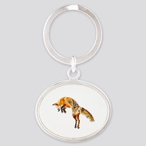 Leaping Fox Oval Keychain